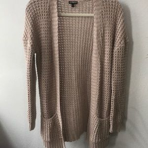 Express knitted cream cardigan long sleeve
